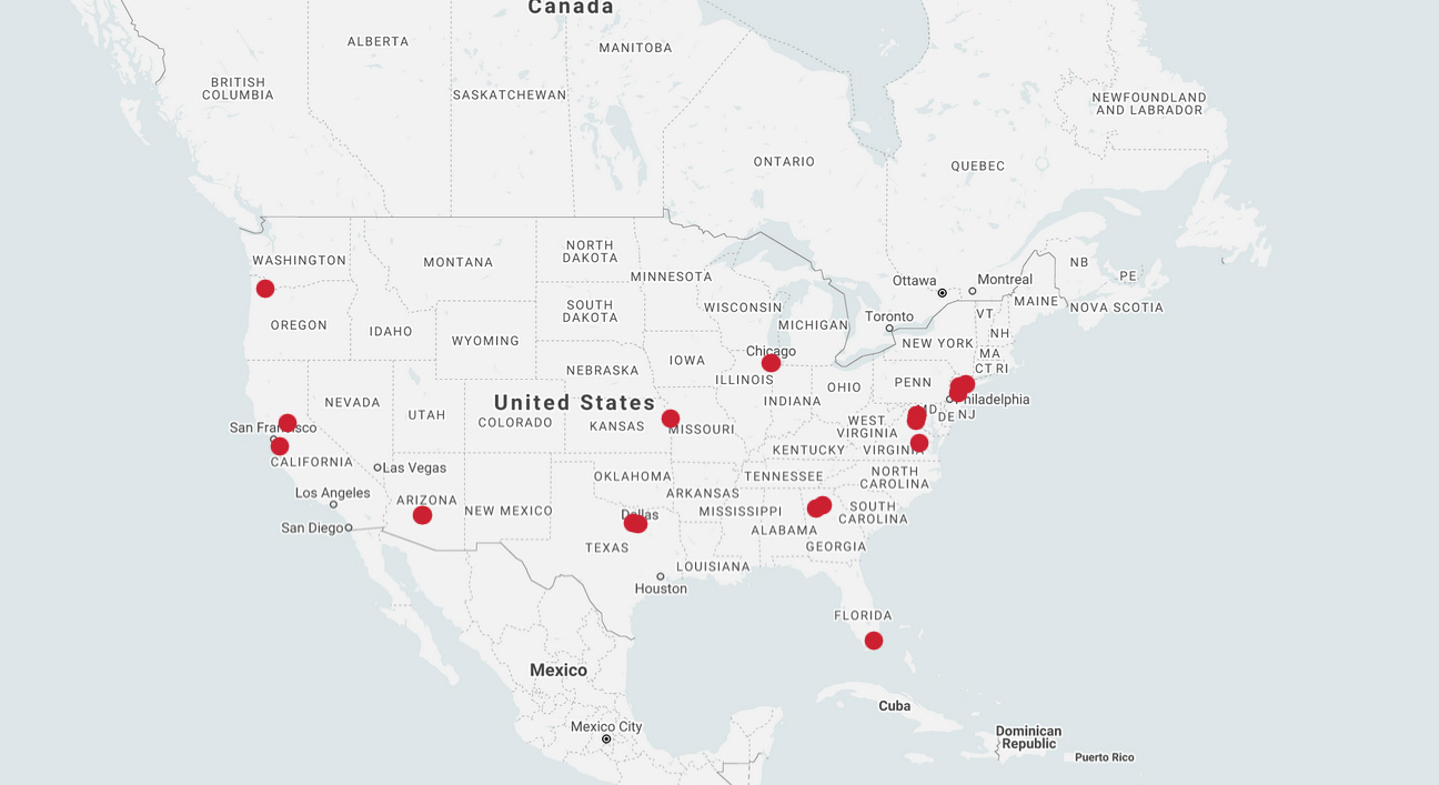 QTS data center locations map